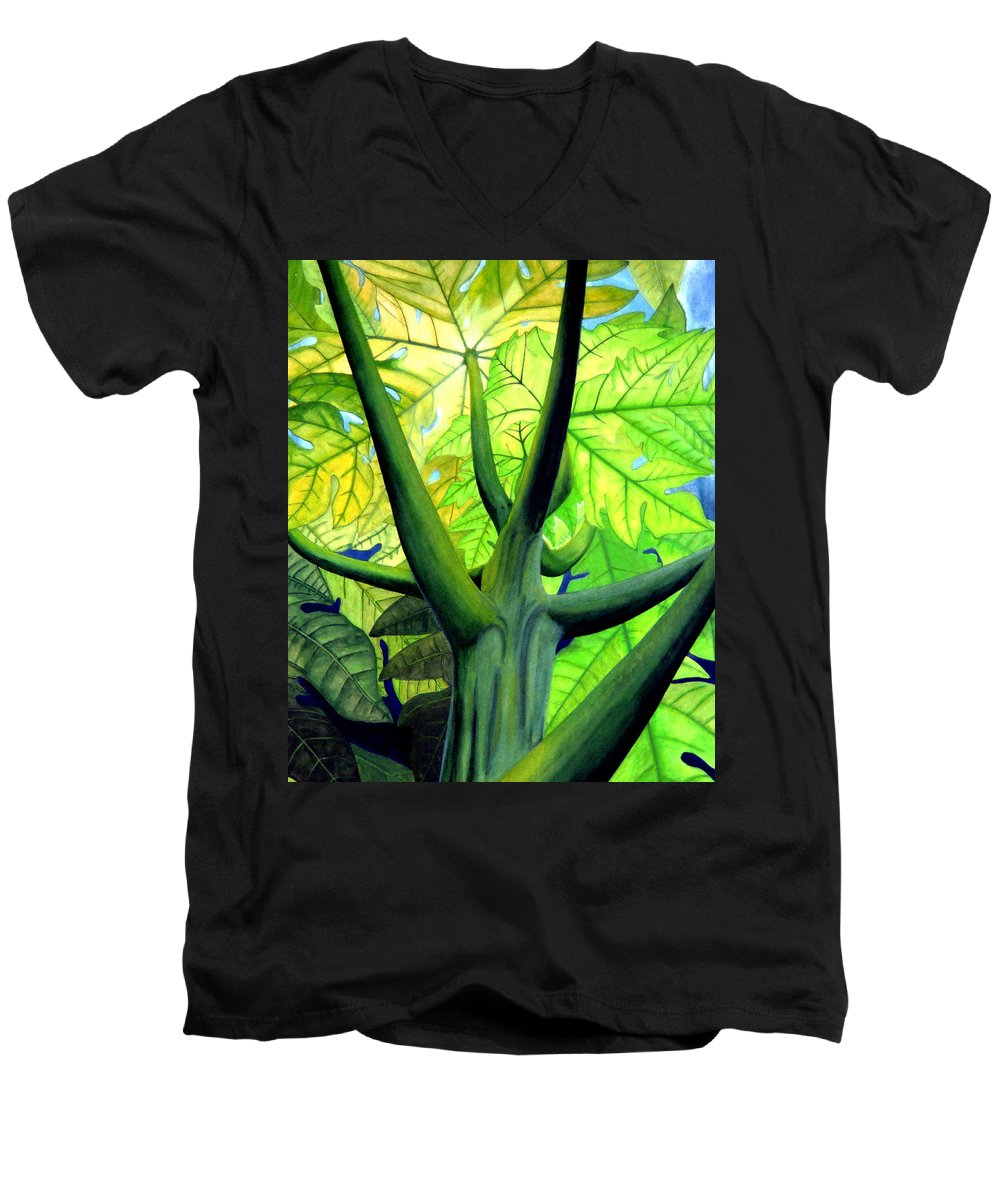 Papaya Tree Men's V-Neck T-Shirt featuring the painting Papaya Tree by Kevin Smith