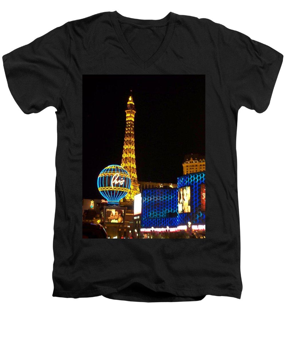 Vegas Men's V-Neck T-Shirt featuring the photograph Paris Hotel At Night by Anita Burgermeister