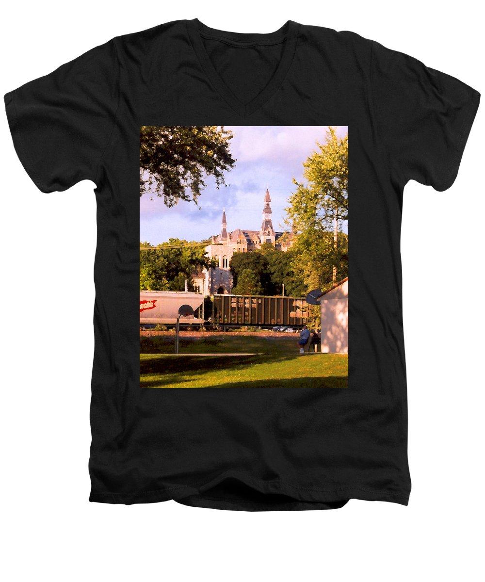 Landscape Men's V-Neck T-Shirt featuring the photograph Park University by Steve Karol