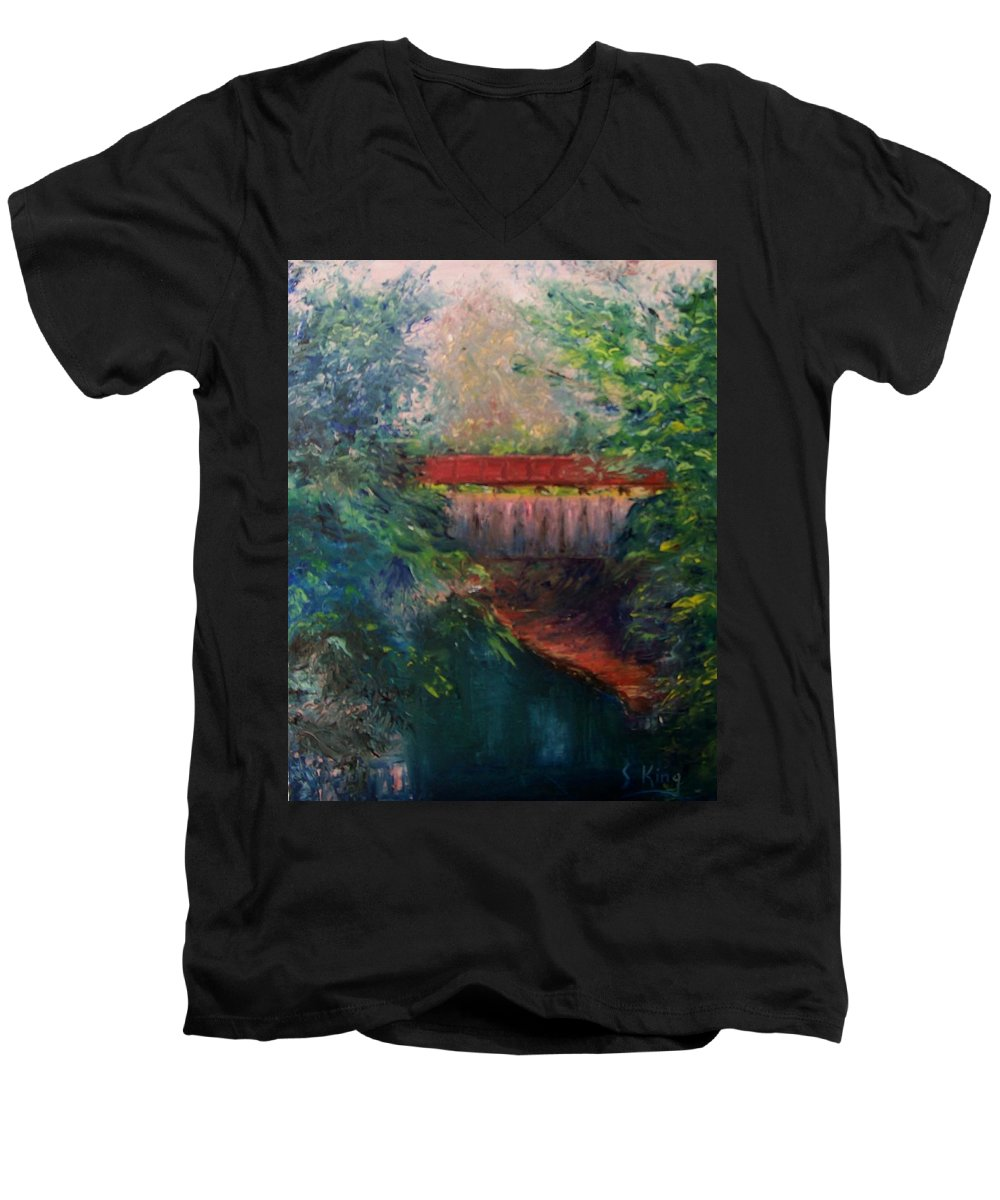 Landscape Men's V-Neck T-Shirt featuring the painting Parke County by Stephen King