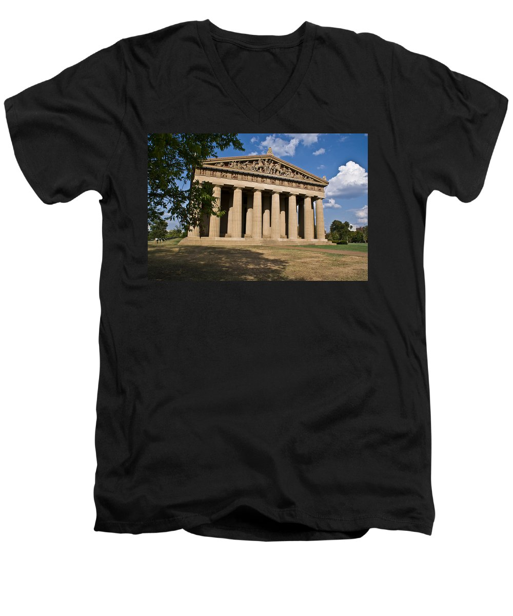 Parthenon Men's V-Neck T-Shirt featuring the photograph Parthenon Nashville Tennessee by Douglas Barnett