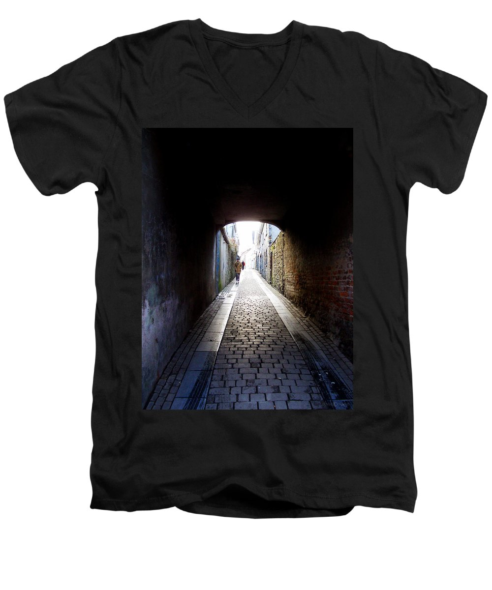 Cooblestone Men's V-Neck T-Shirt featuring the photograph Passage by Tim Nyberg