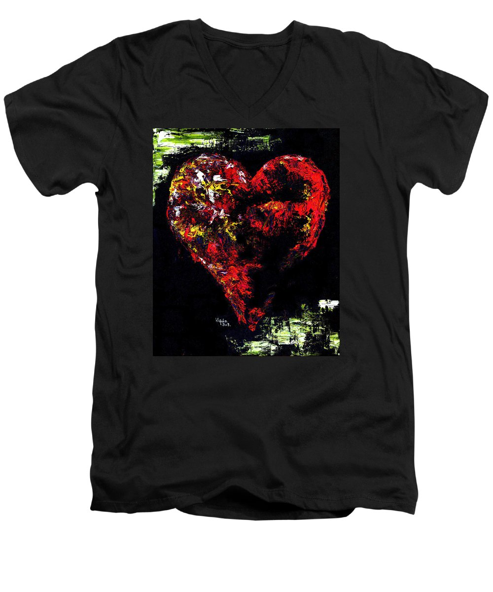 Heart Men's V-Neck T-Shirt featuring the painting Passion by Hiroko Sakai