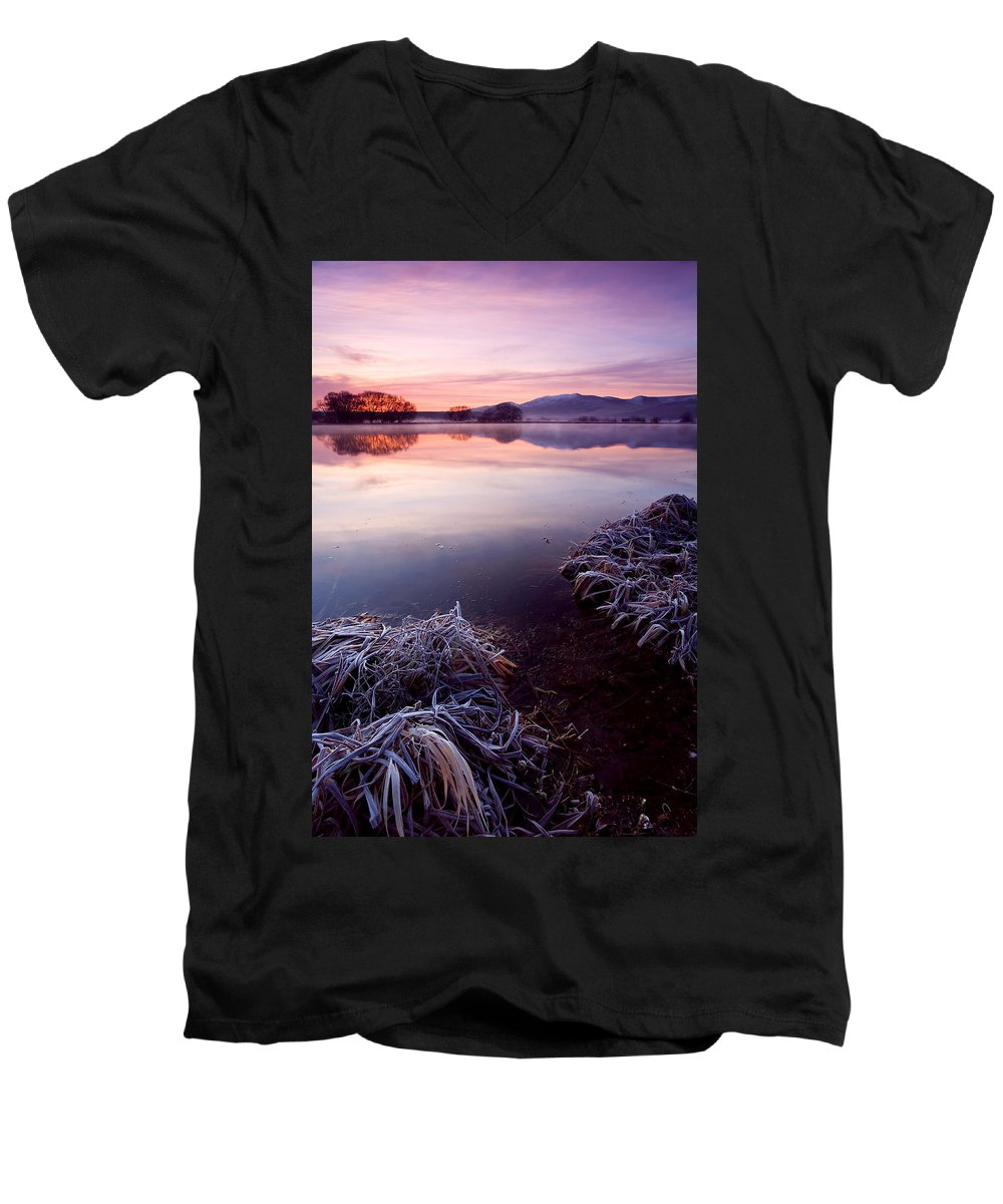 Lake Men's V-Neck T-Shirt featuring the photograph Pastel Dawn by Mike Dawson