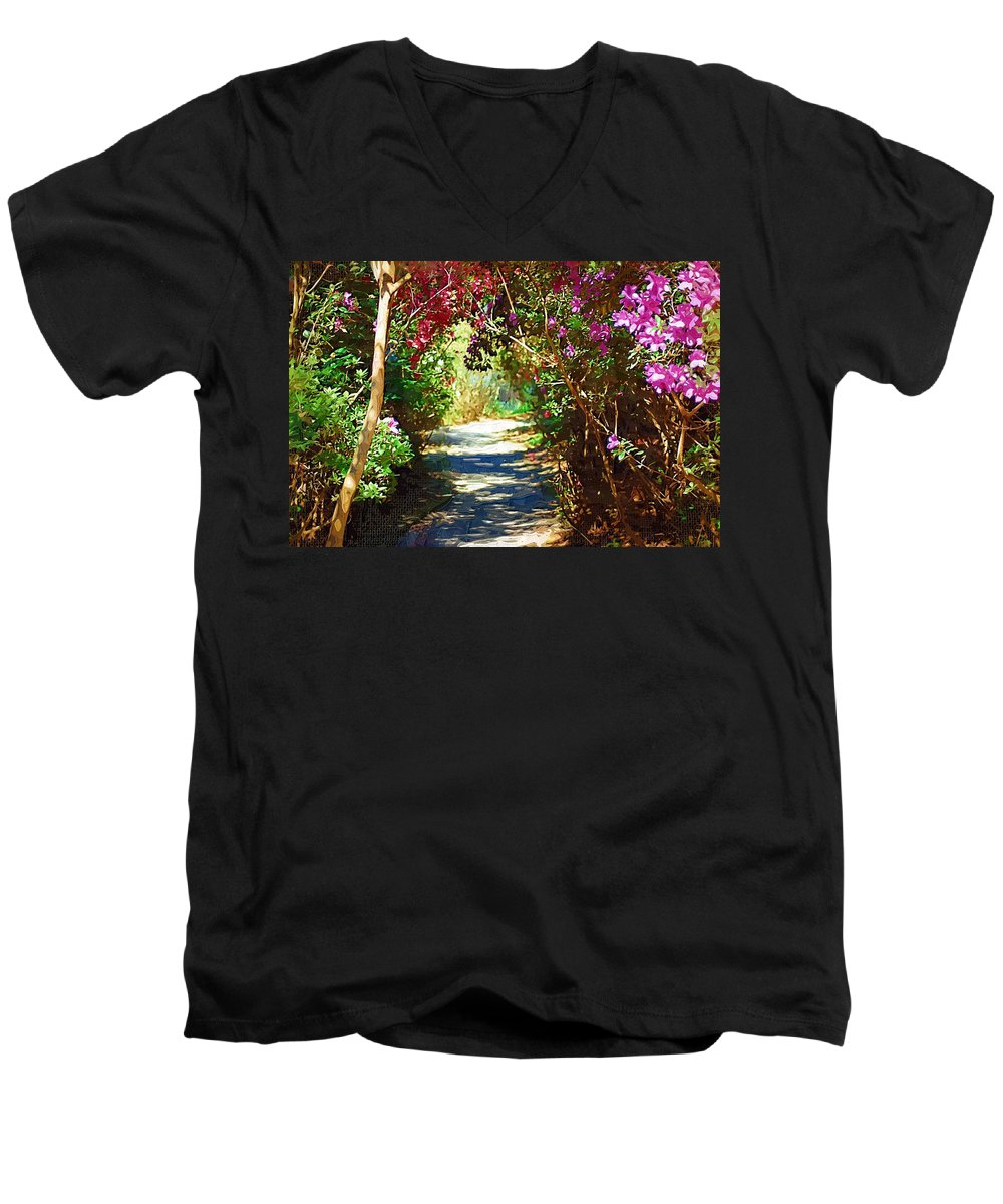 Landscape Men's V-Neck T-Shirt featuring the digital art Path To The Gardens by Donna Bentley