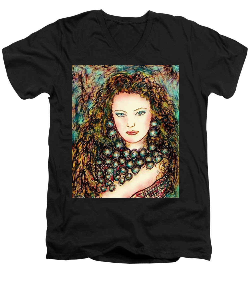 Woman Men's V-Neck T-Shirt featuring the painting Paula by Natalie Holland