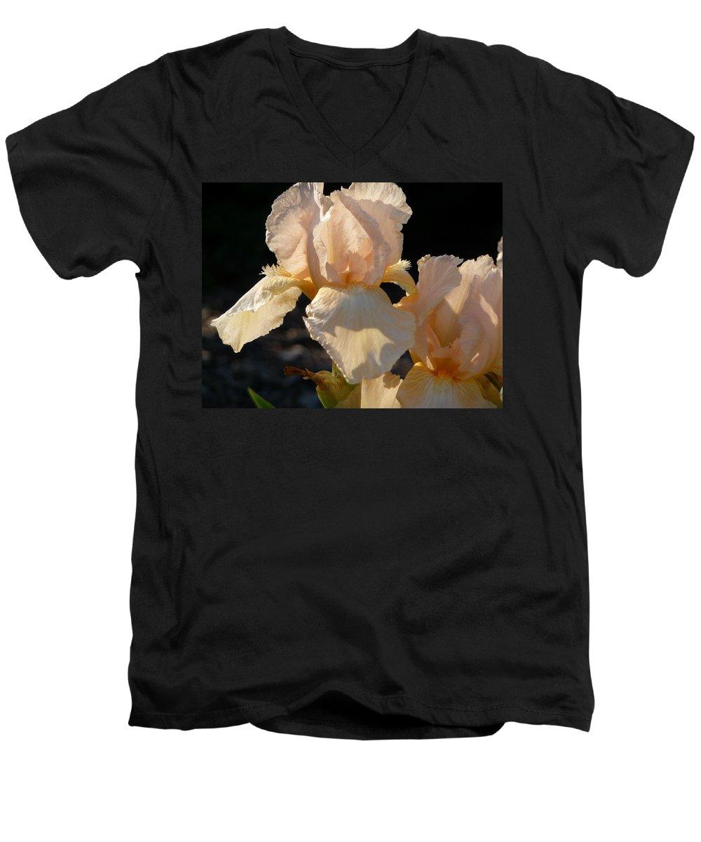 Flower. Iris Men's V-Neck T-Shirt featuring the photograph Peach Bearded Iris by Ruth Kamenev