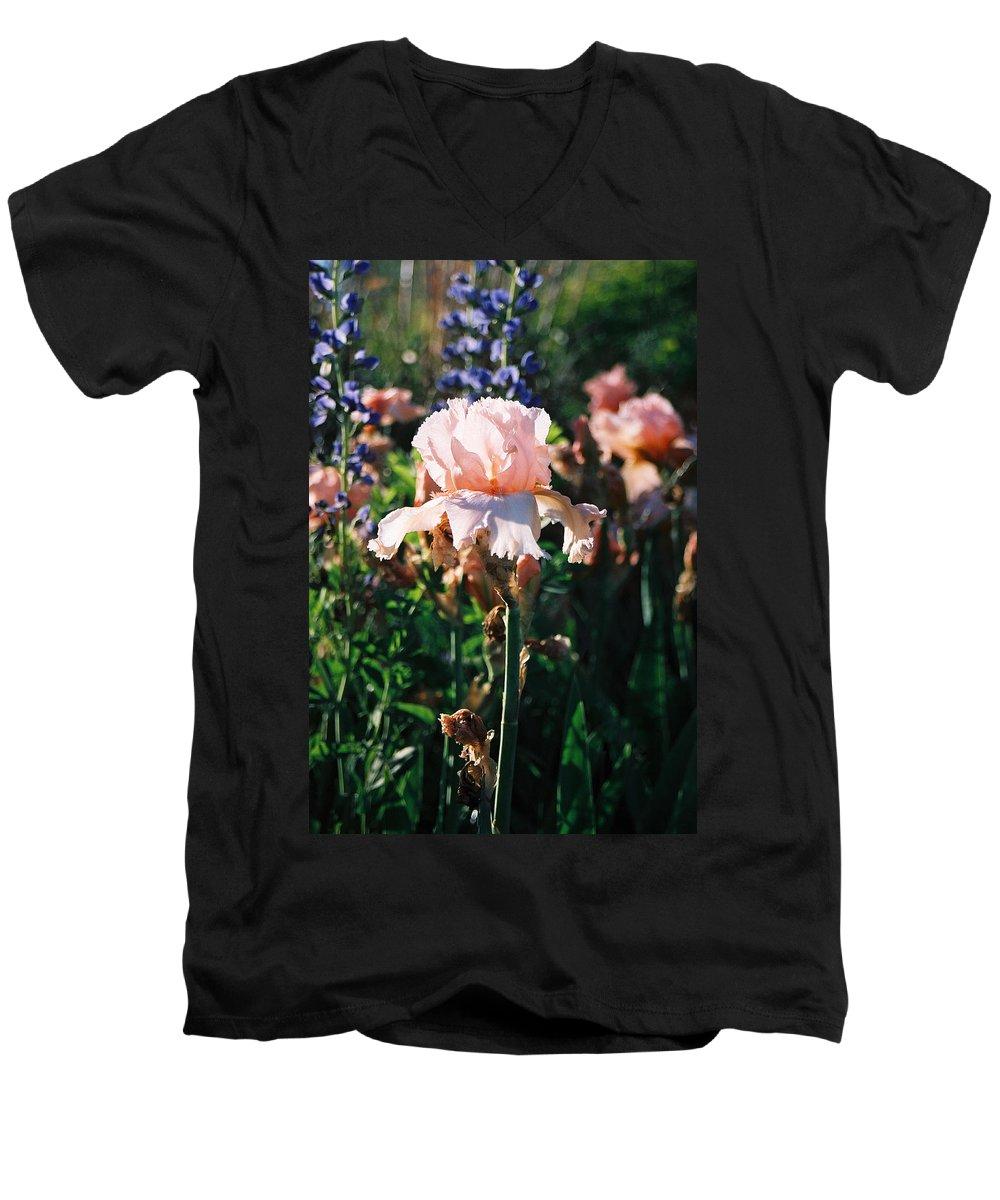 Flower Men's V-Neck T-Shirt featuring the photograph Peach Iris by Steve Karol