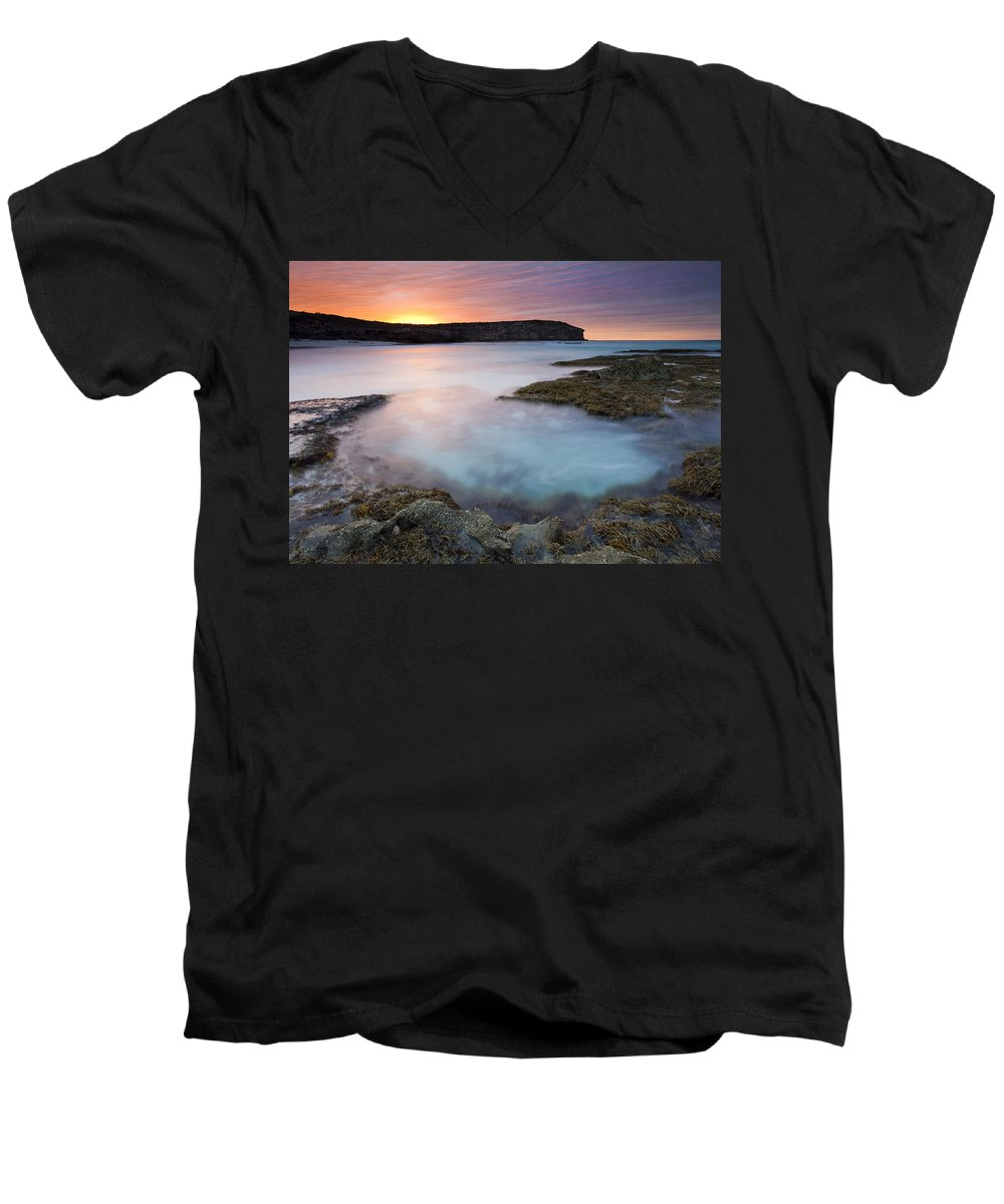 Dawn Men's V-Neck T-Shirt featuring the photograph Pennington Dawn by Mike Dawson