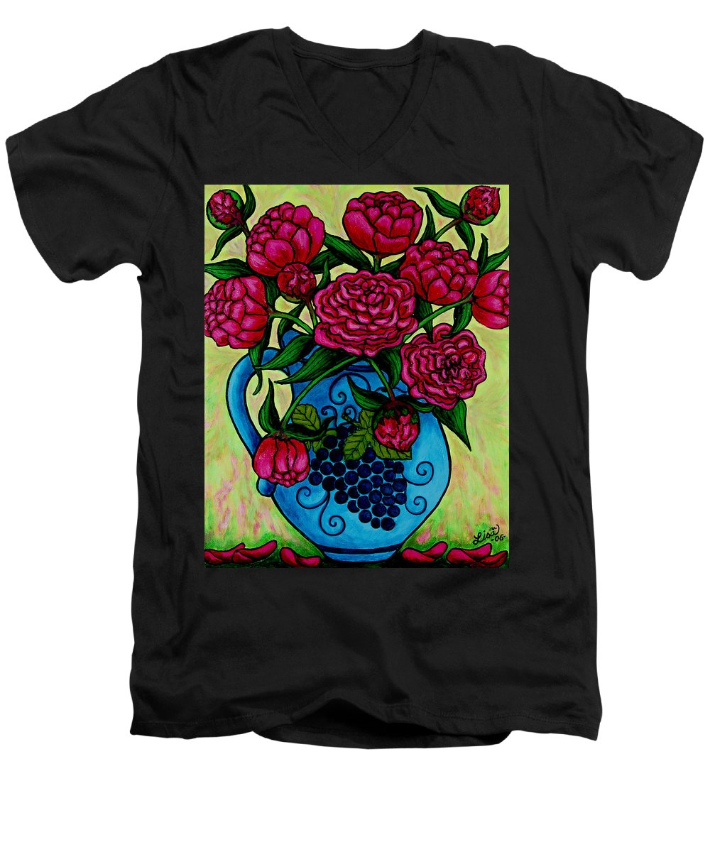 Peonies Men's V-Neck T-Shirt featuring the painting Peony Party by Lisa Lorenz