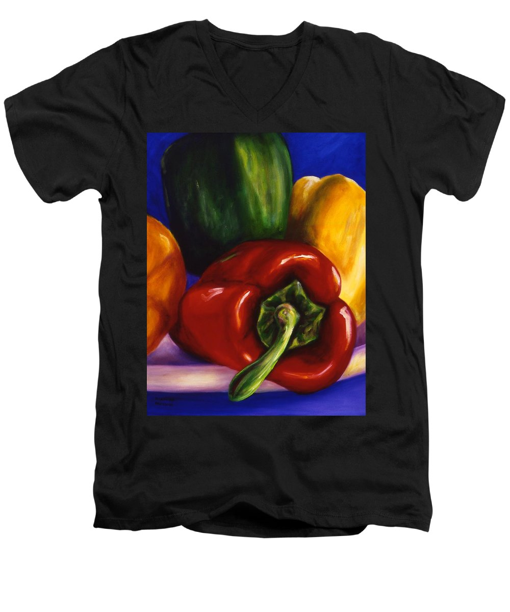 Still Life Men's V-Neck T-Shirt featuring the painting Peppers On Peppers by Shannon Grissom