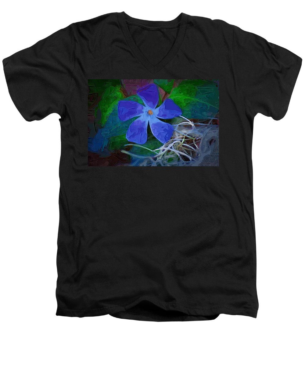 Flower Men's V-Neck T-Shirt featuring the digital art Periwinkle Blue by Donna Bentley
