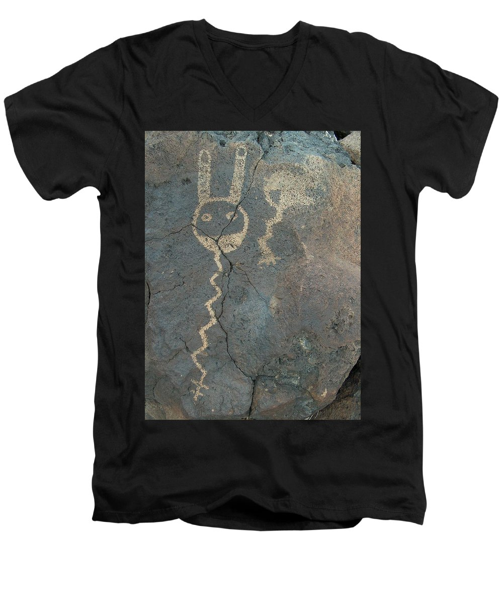 Petroglyph Men's V-Neck T-Shirt featuring the photograph Petroglyph Series 1 by Tim McCarthy