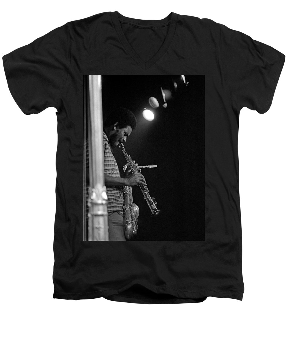 Pharoah Sanders Men's V-Neck T-Shirt featuring the photograph Pharoah Sanders 1 by Lee Santa