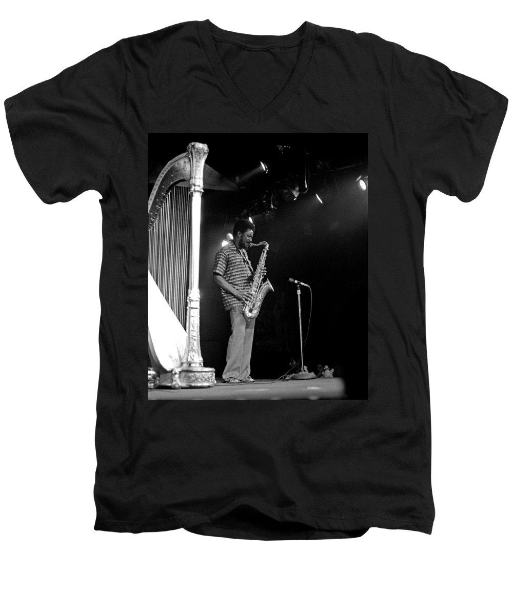 Pharoah Sanders Men's V-Neck T-Shirt featuring the photograph Pharoah Sanders 5 by Lee Santa