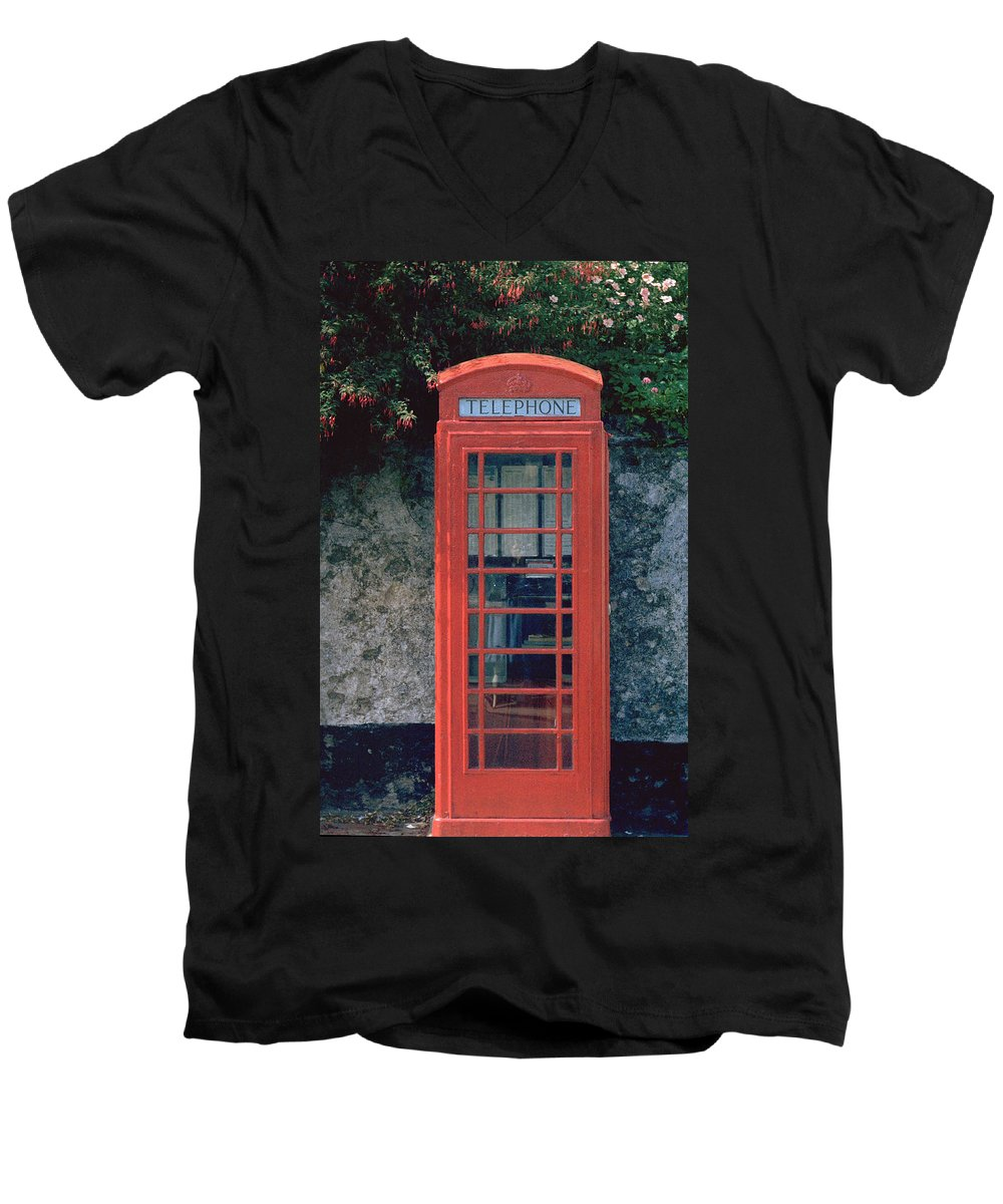 Great Britain Men's V-Neck T-Shirt featuring the photograph Phone Booth by Flavia Westerwelle
