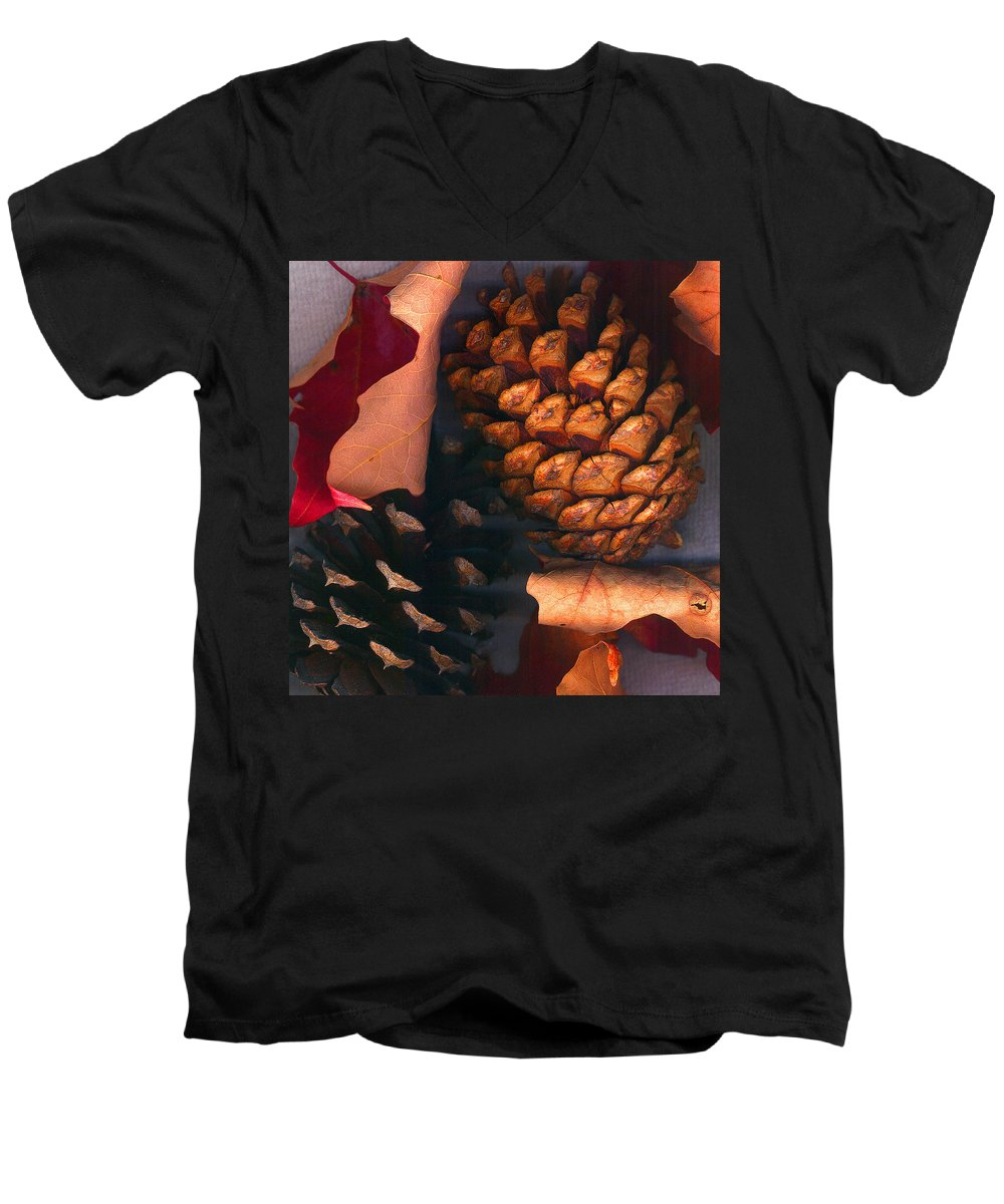 Pine Cones Men's V-Neck T-Shirt featuring the photograph Pine Cones And Leaves by Nancy Mueller