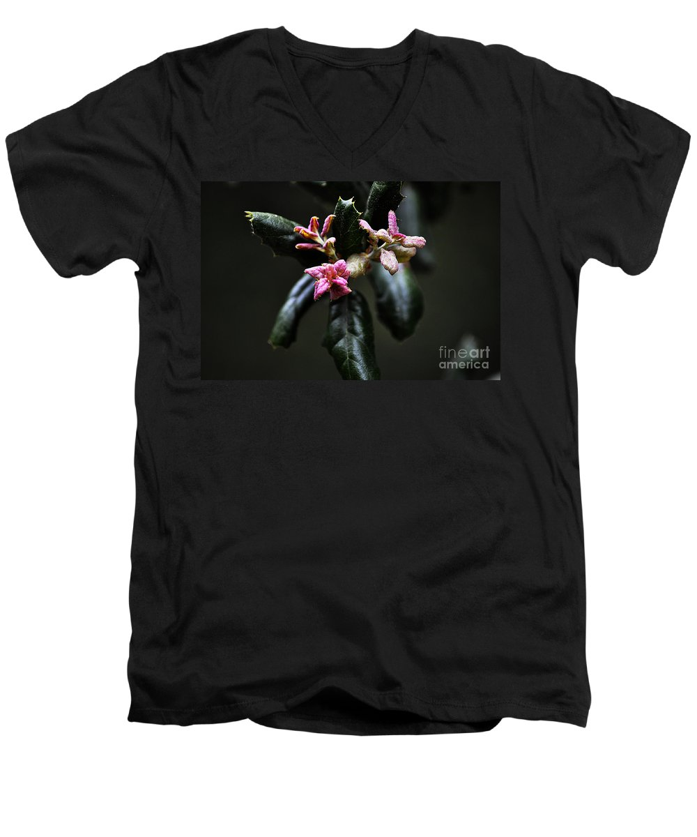 Clay Men's V-Neck T-Shirt featuring the photograph Pink Bud by Clayton Bruster