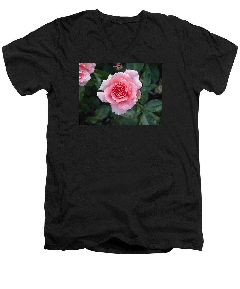 Rose Men's V-Neck T-Shirt featuring the photograph Pink Rose by Dave Martsolf