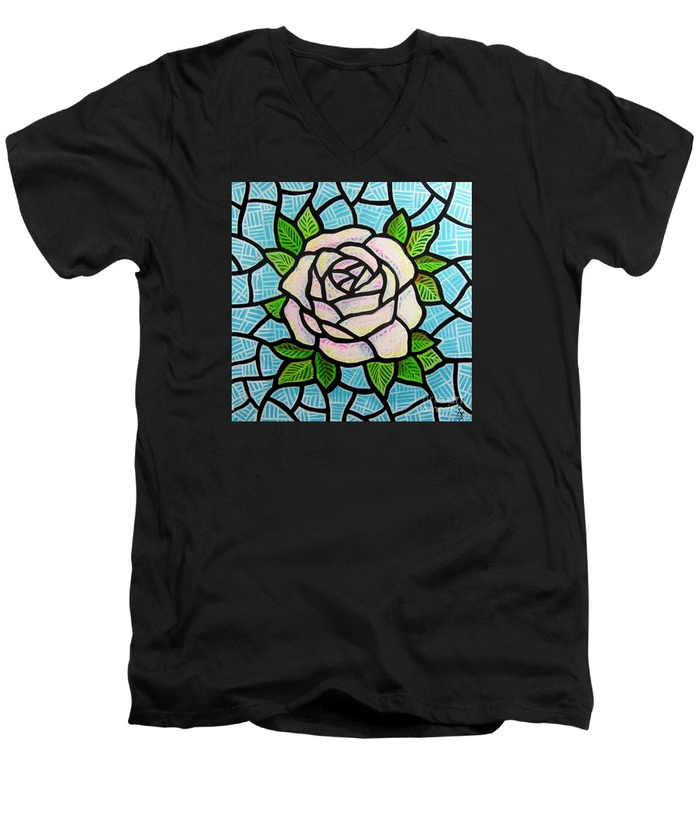 Rose Men's V-Neck T-Shirt featuring the painting Pinkish Rose by Jim Harris