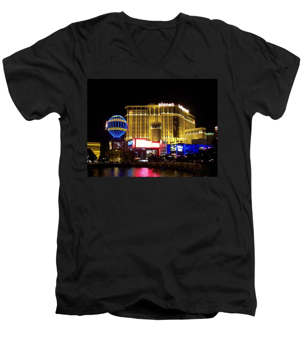 Vegas Men's V-Neck T-Shirt featuring the photograph Planet Hollywood By Night by Anita Burgermeister