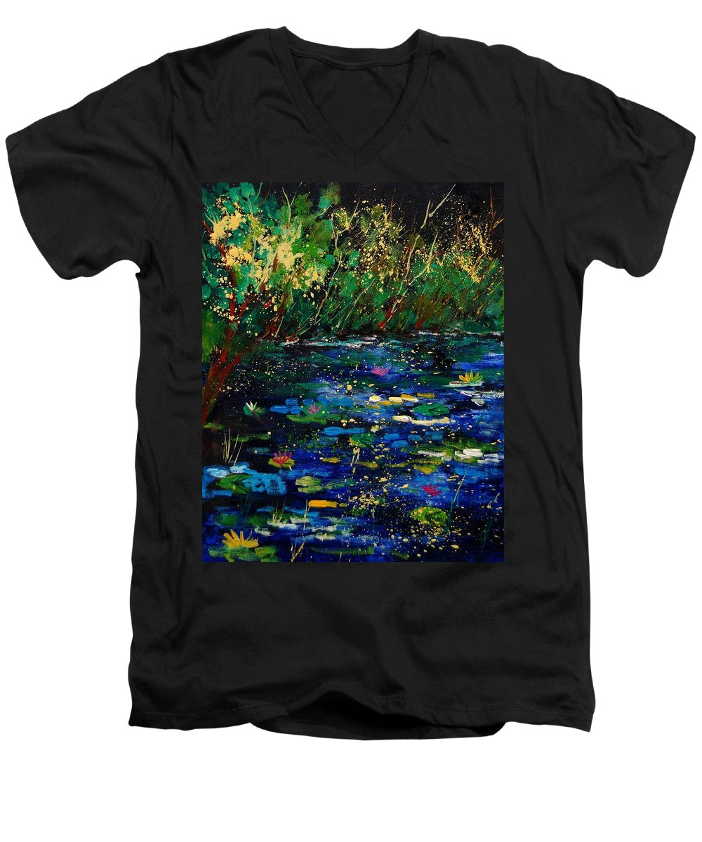 Water Men's V-Neck T-Shirt featuring the painting Pond 459030 by Pol Ledent