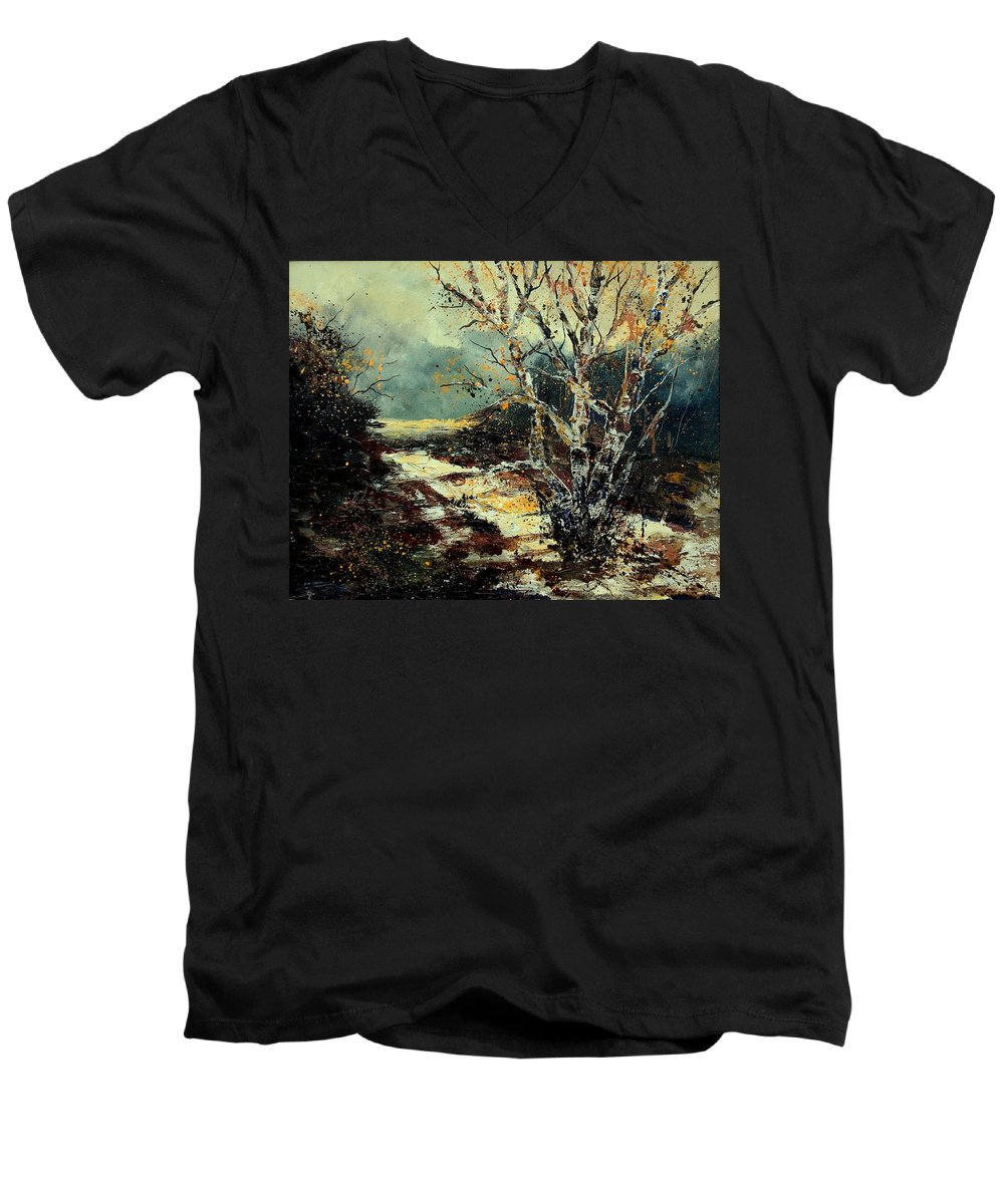 Tree Men's V-Neck T-Shirt featuring the painting Poplars 45 by Pol Ledent