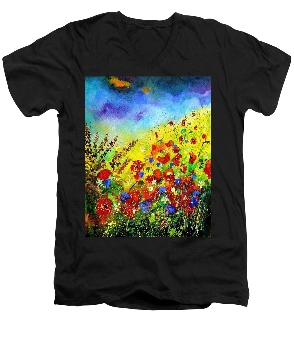 Poppies Men's V-Neck T-Shirt featuring the print Poppies And Blue Bells by Pol Ledent