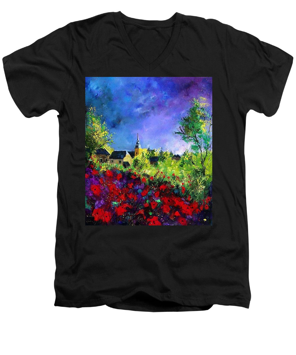 Flowers Men's V-Neck T-Shirt featuring the painting Poppies In Villers by Pol Ledent
