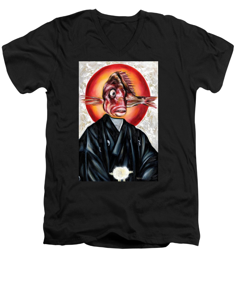 Japanese Men's V-Neck T-Shirt featuring the painting Portrait by Hiroko Sakai