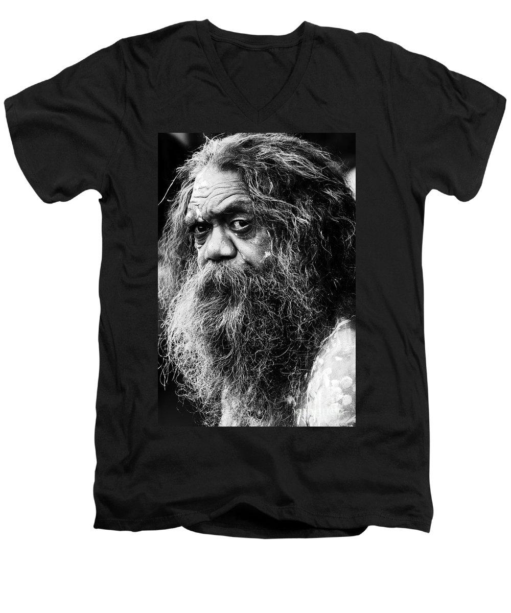 Aborigine Aboriginal Australian Men's V-Neck T-Shirt featuring the photograph Portrait Of An Australian Aborigine by Sheila Smart Fine Art Photography