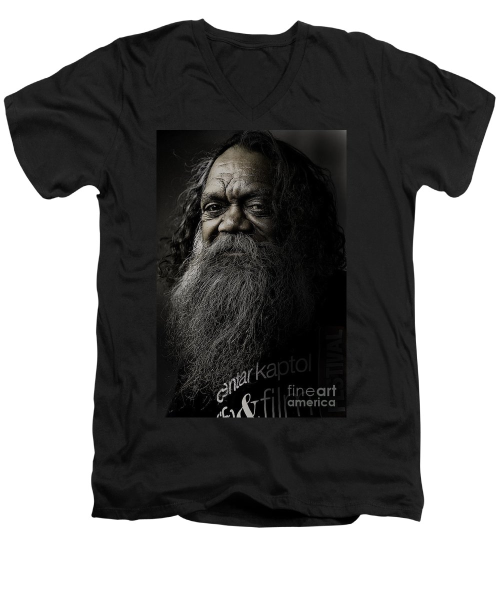Aboriginal Men's V-Neck T-Shirt featuring the photograph Portrait Of Cedric by Sheila Smart Fine Art Photography