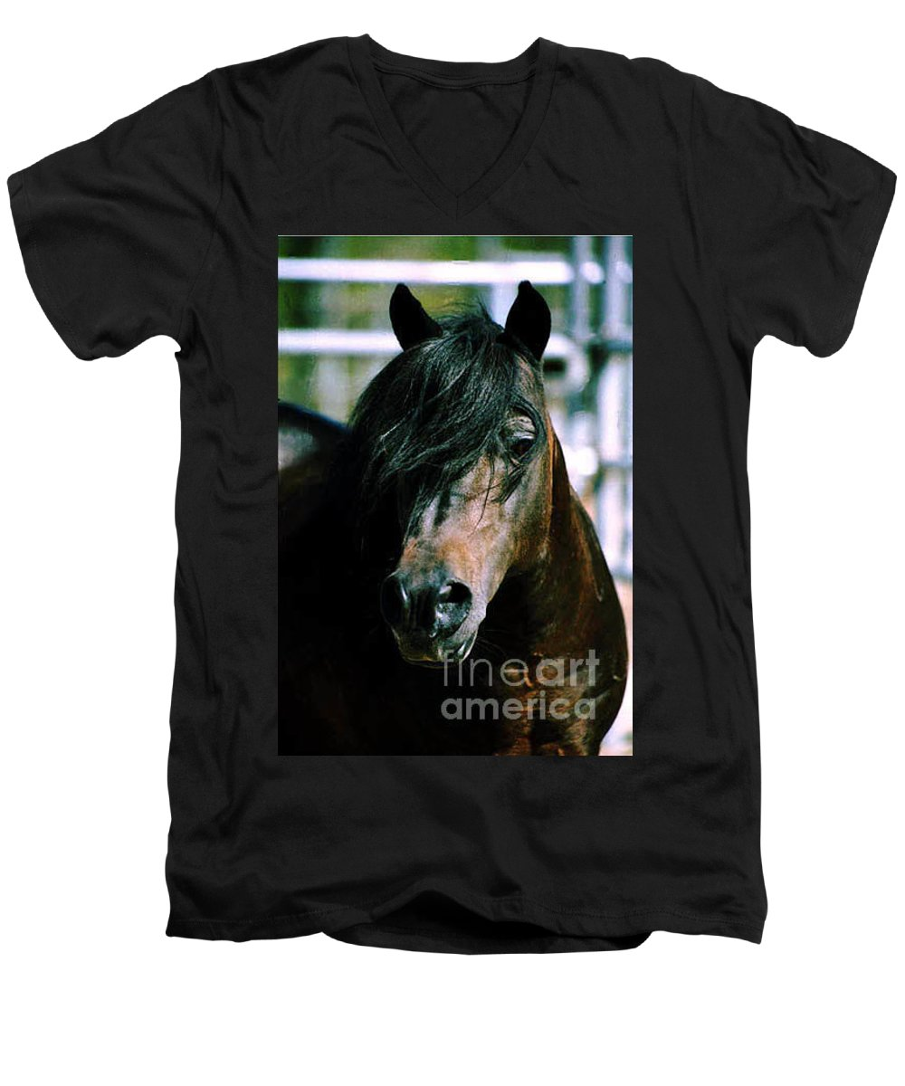 Horse Men's V-Neck T-Shirt featuring the photograph Portrait Of His Majesty - The King by Kathy McClure