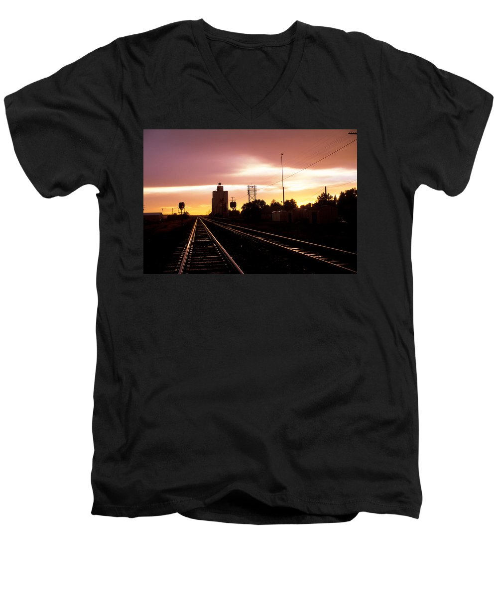 Potter Men's V-Neck T-Shirt featuring the photograph Potter Tracks by Jerry McElroy