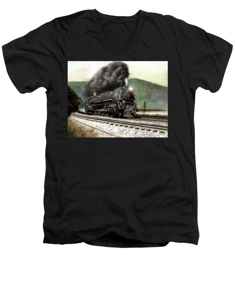 Men's V-Neck T-Shirt featuring the painting Power On The Curve by David Mittner