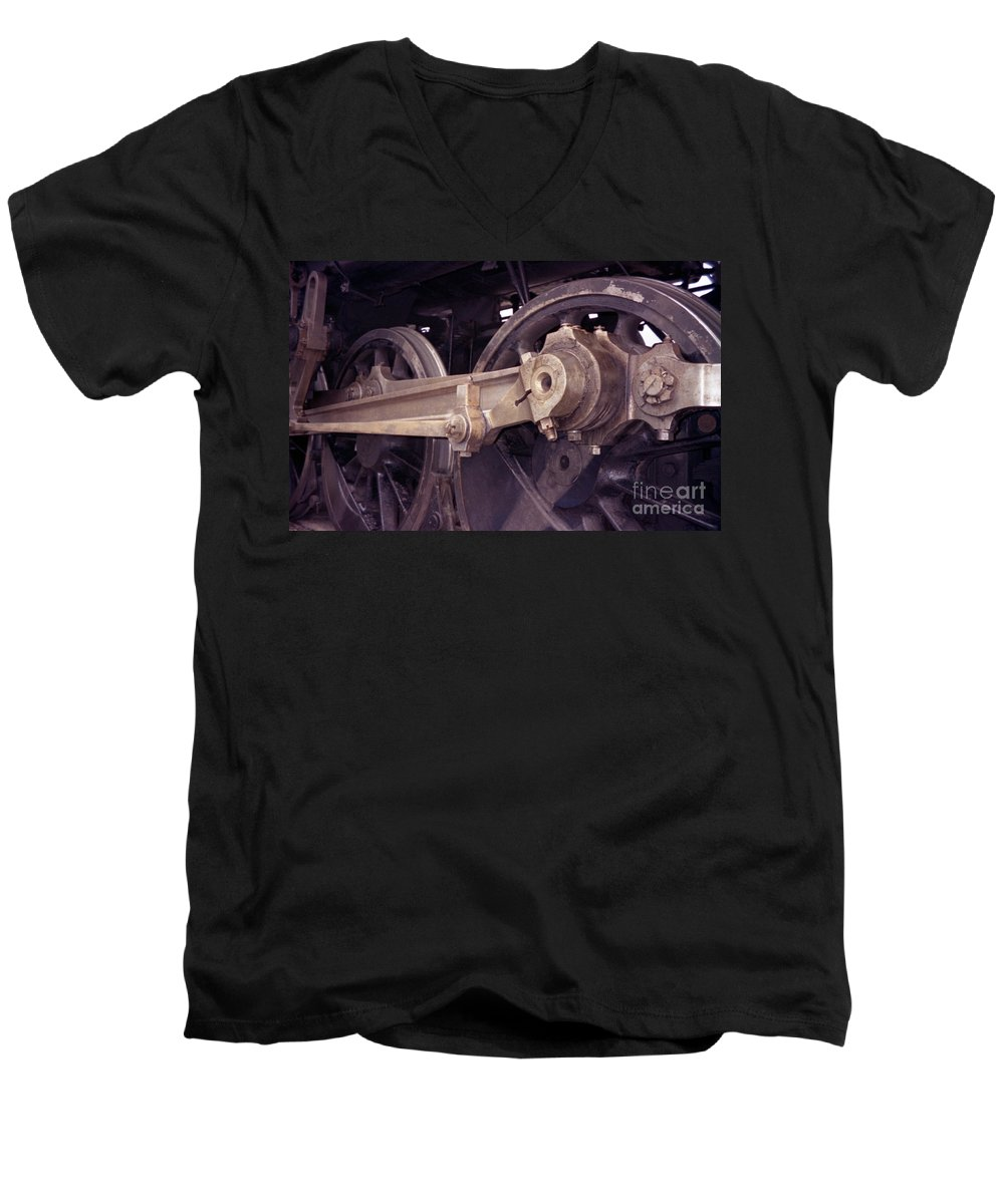 Trains Men's V-Neck T-Shirt featuring the photograph Power Train by Richard Rizzo
