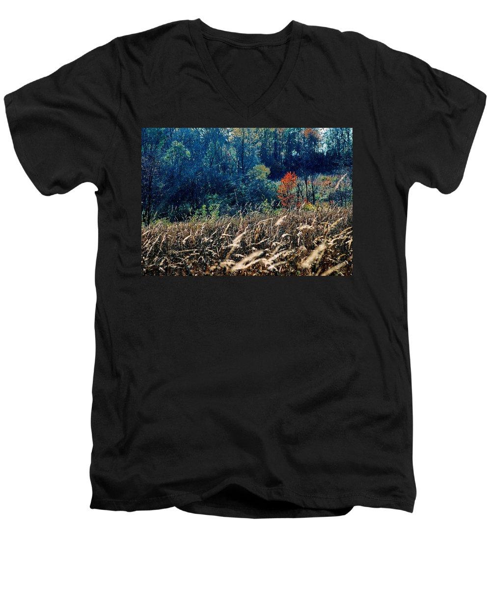 Landscape Men's V-Neck T-Shirt featuring the photograph Prairie Edge by Steve Karol