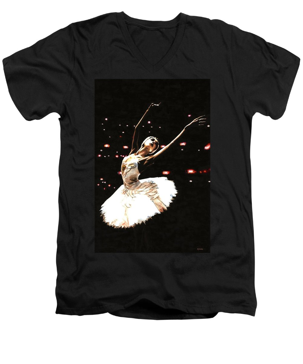 Prima Ballerina Men's V-Neck T-Shirt featuring the painting Prima Ballerina by Richard Young