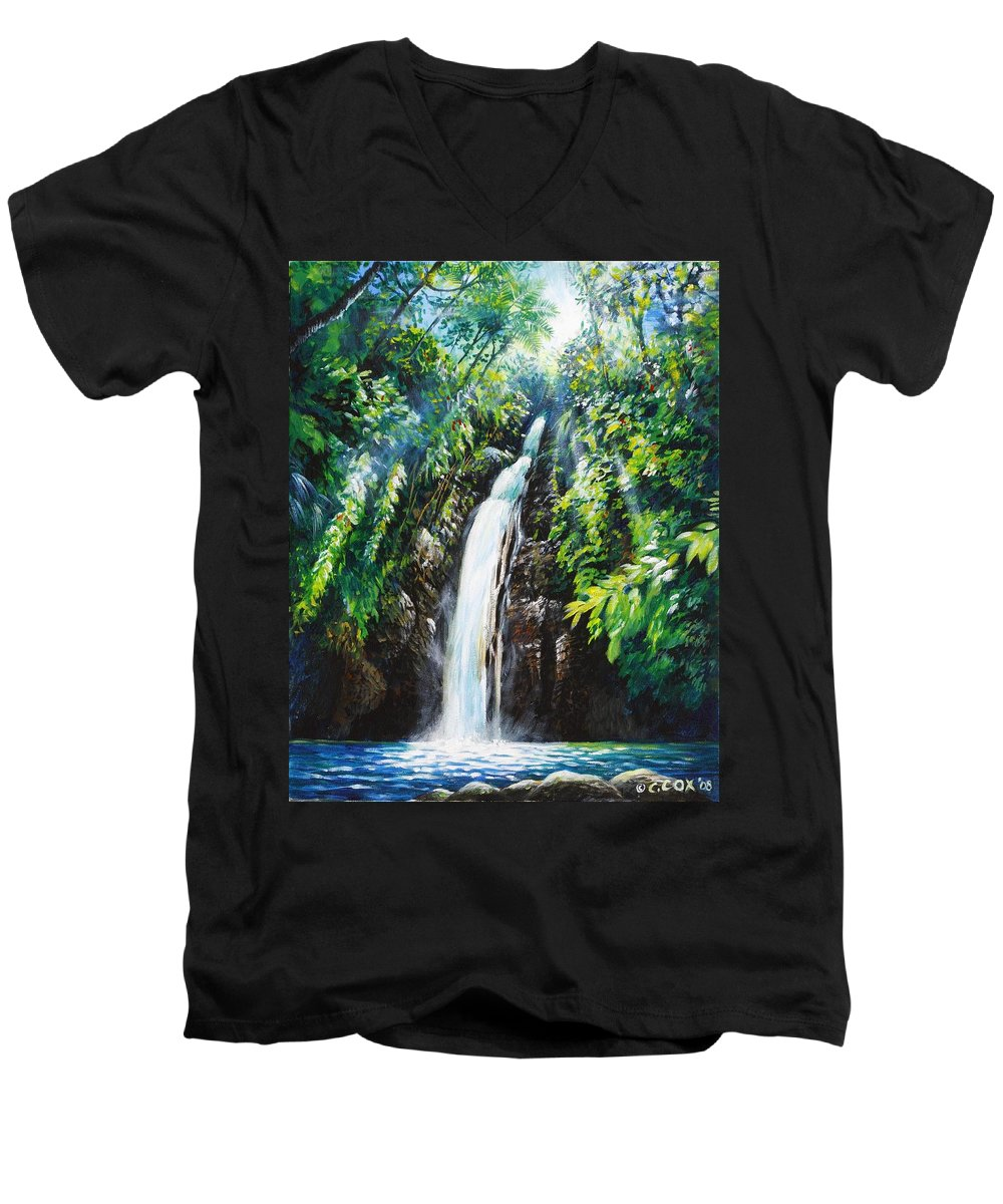 Chris Cox Men's V-Neck T-Shirt featuring the painting Pristine by Christopher Cox
