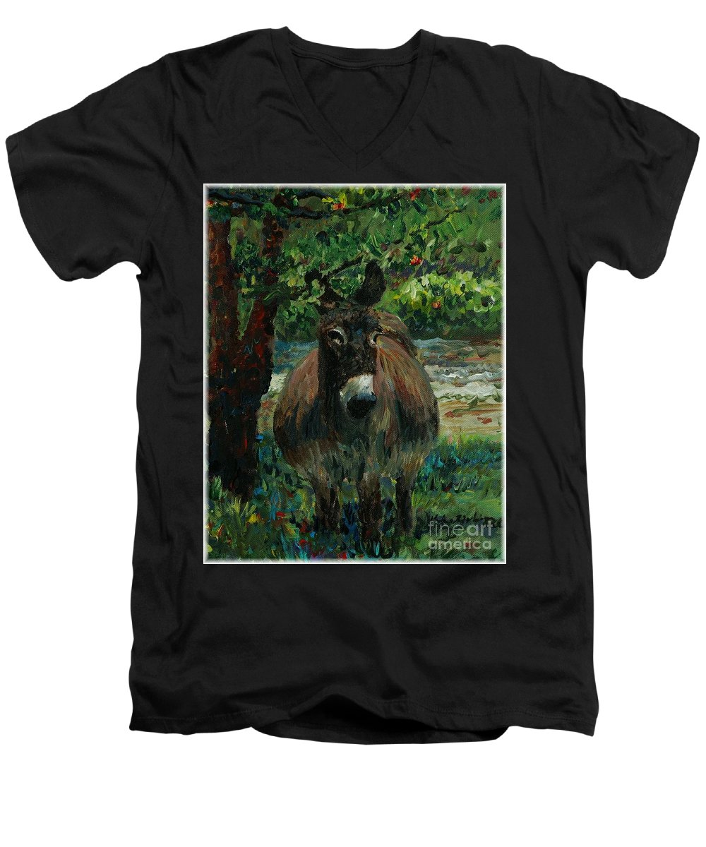 Donkey Men's V-Neck T-Shirt featuring the painting Provence Donkey by Nadine Rippelmeyer