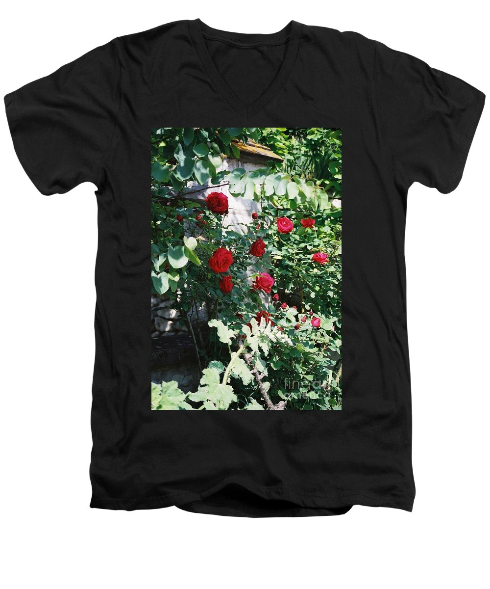Floral Men's V-Neck T-Shirt featuring the photograph Provence Red Roses by Nadine Rippelmeyer