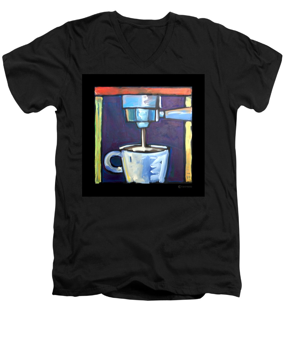Coffee Men's V-Neck T-Shirt featuring the painting Pulling A Shot by Tim Nyberg