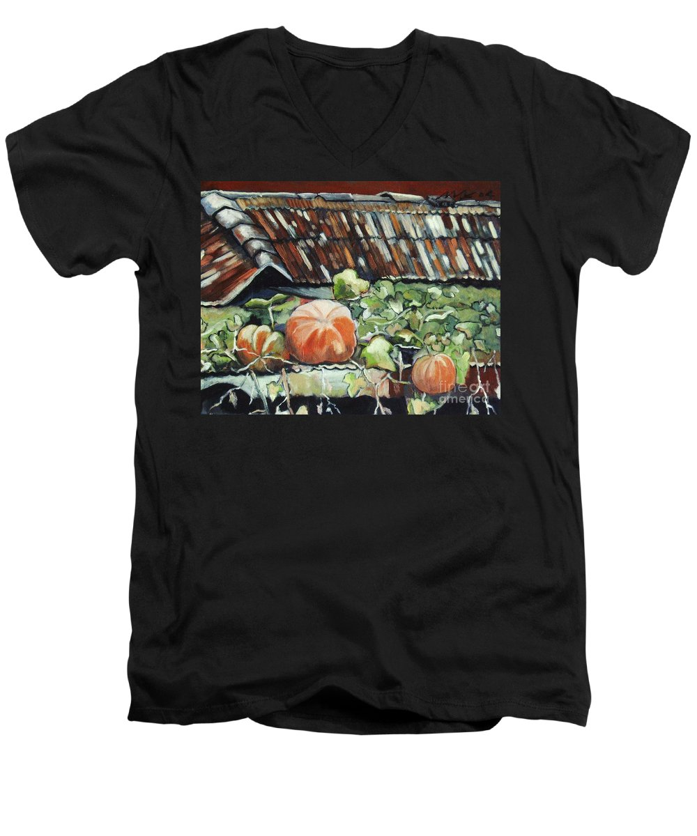 Pumpkin Paintings Men's V-Neck T-Shirt featuring the painting Pumpkins On Roof by Seon-Jeong Kim