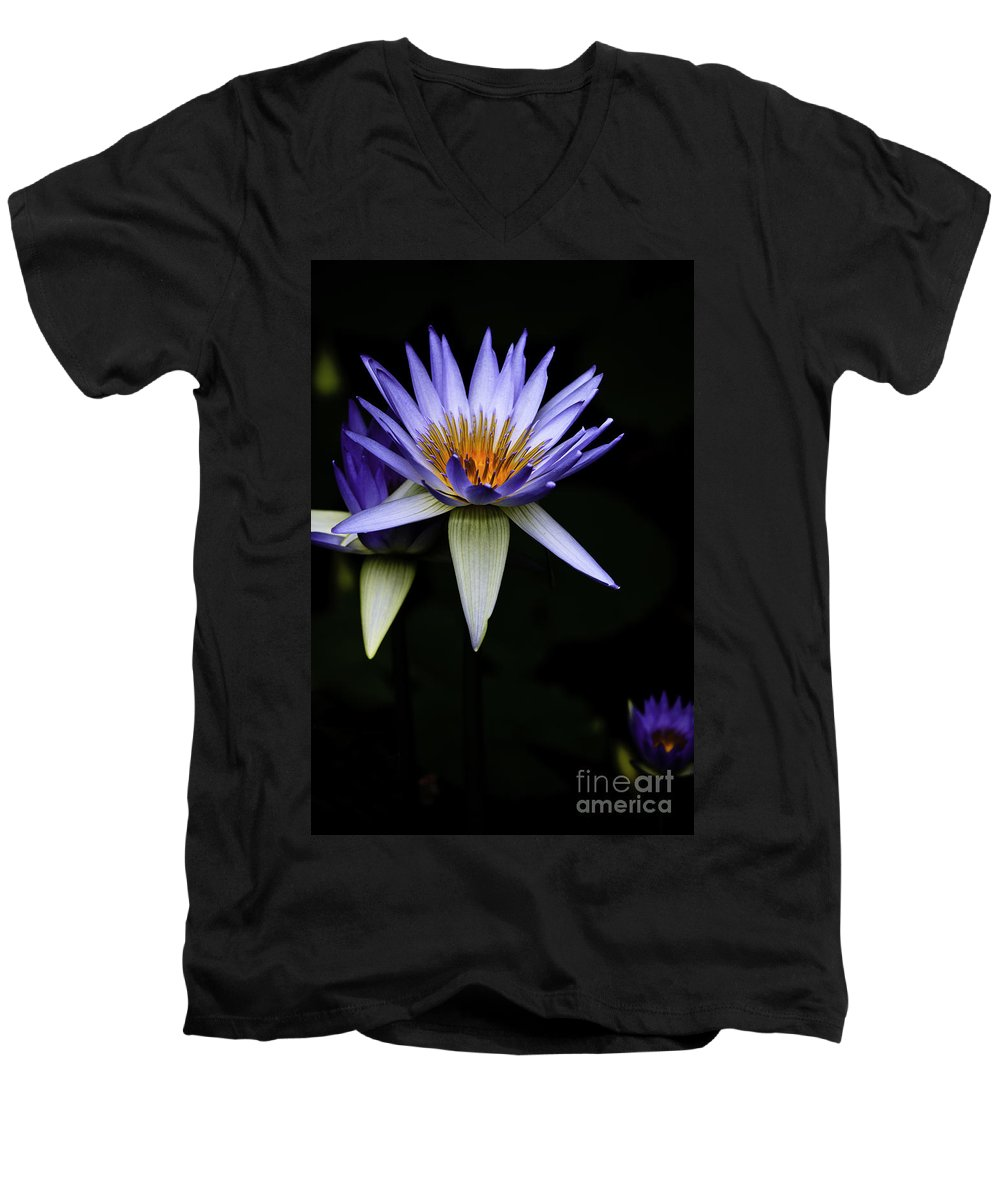 Purple Waterlily Water Lily Flower Flora Men's V-Neck T-Shirt featuring the photograph Purple Waterlily by Sheila Smart Fine Art Photography