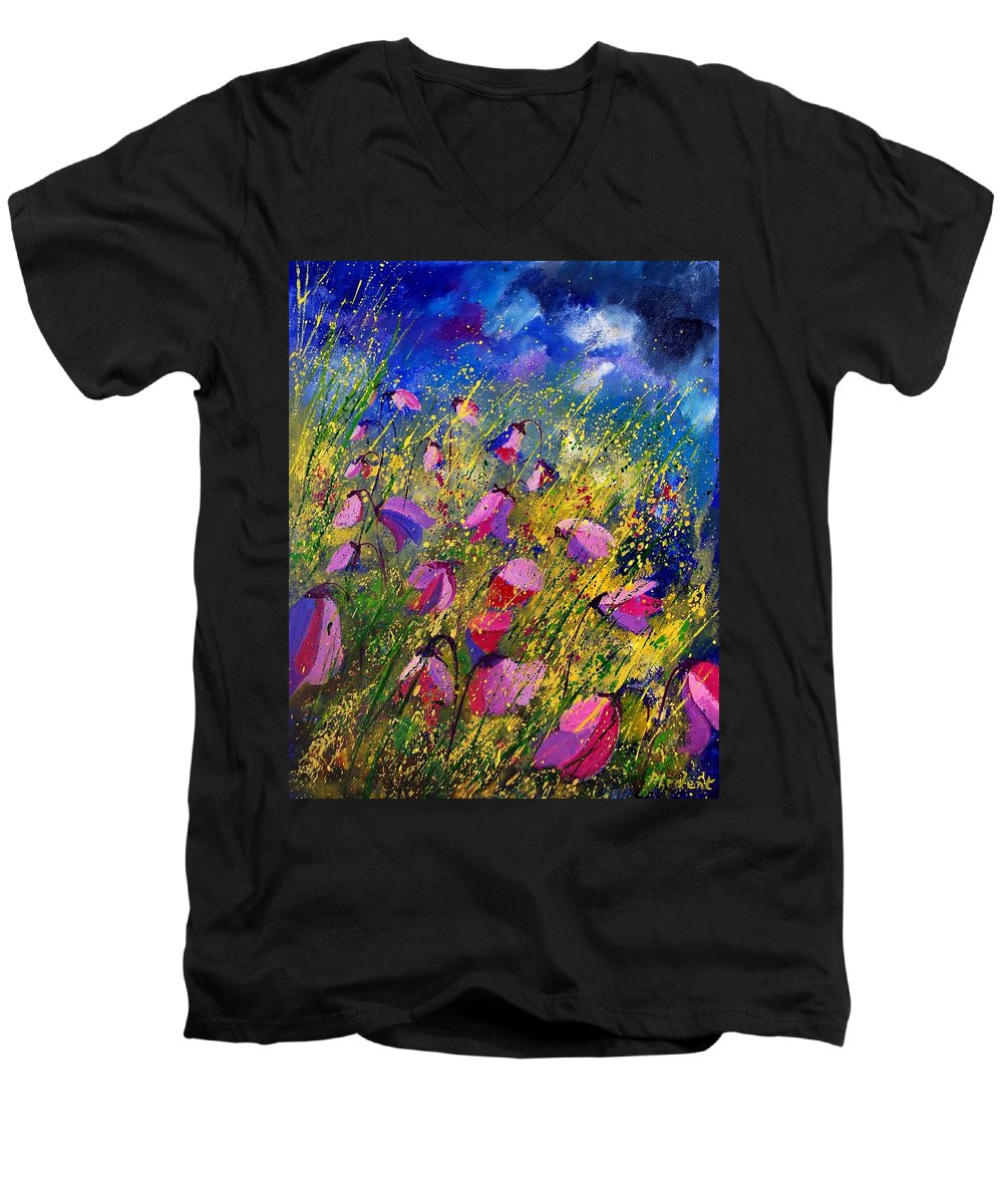 Poppies Men's V-Neck T-Shirt featuring the painting Purple Wild Flowers by Pol Ledent