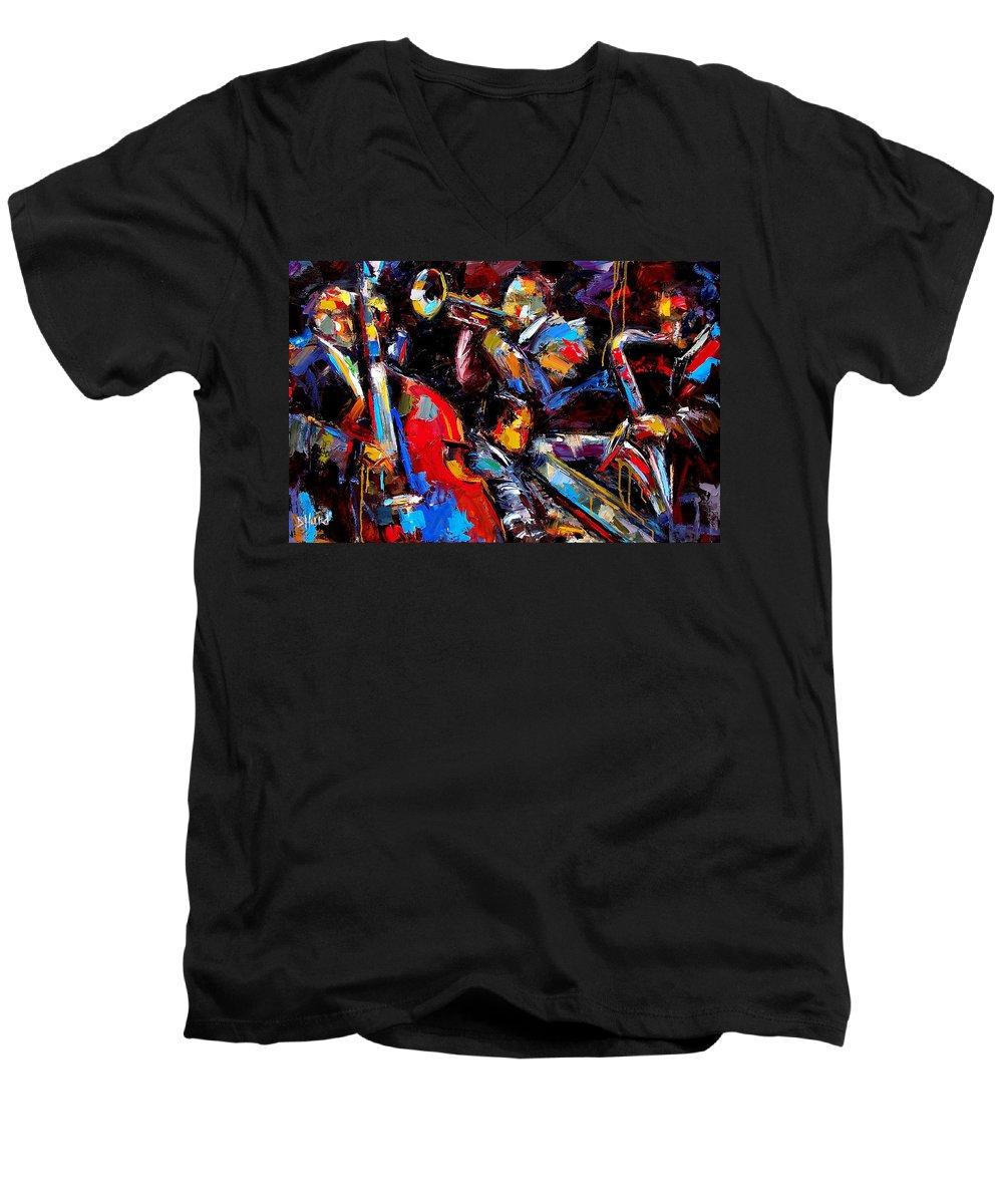 Jazz Paintings Men's V-Neck T-Shirt featuring the painting Quartet by Debra Hurd