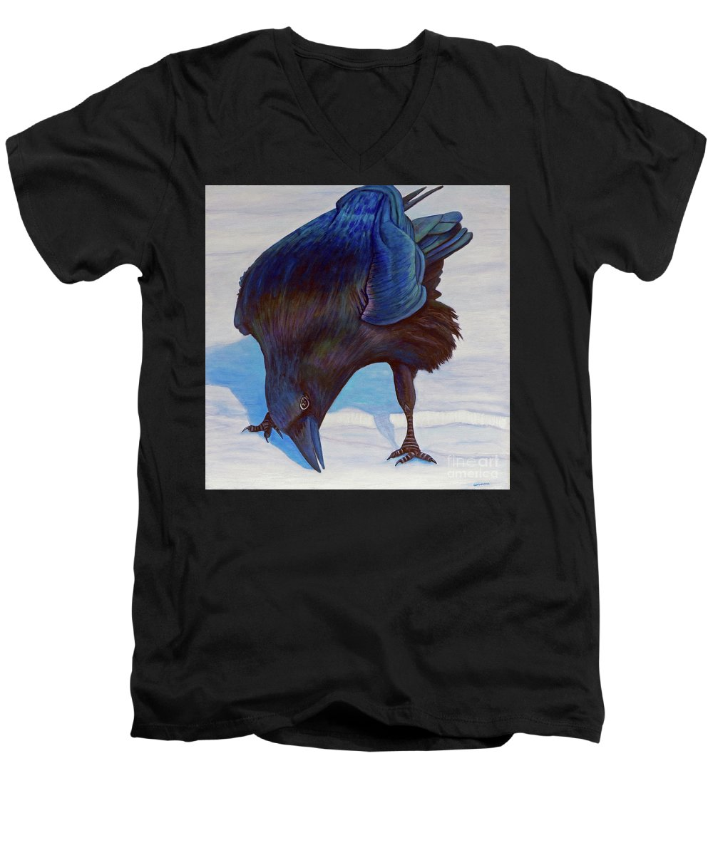 Raven Men's V-Neck T-Shirt featuring the painting Que Pasa by Brian Commerford