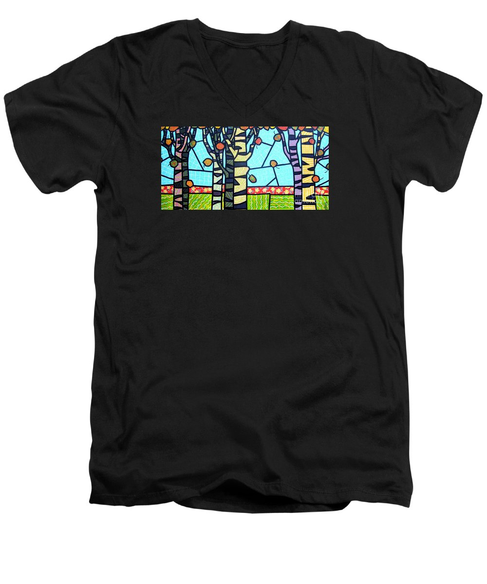 Birch Trees Men's V-Neck T-Shirt featuring the painting Quilted Birch Garden by Jim Harris
