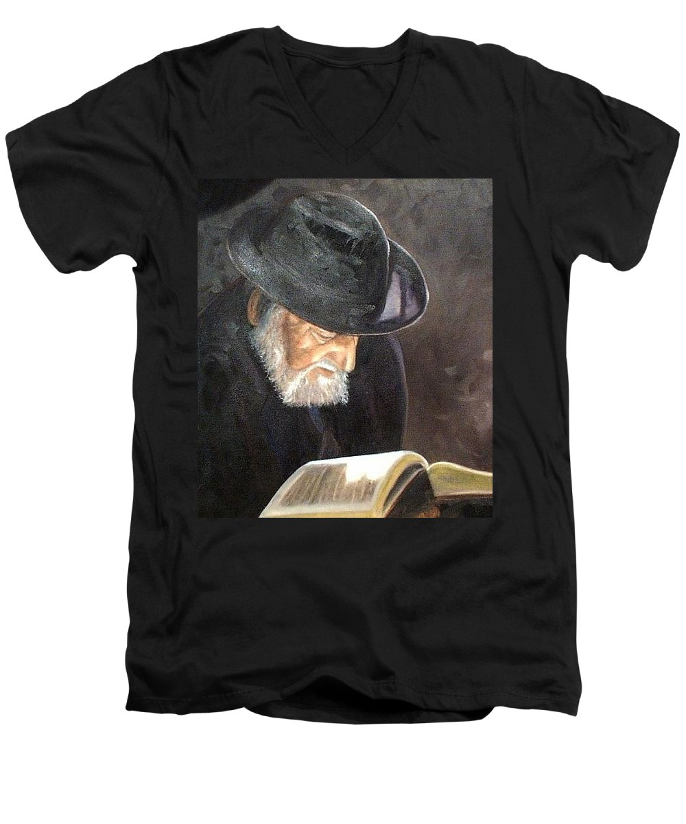 Portrait Men's V-Neck T-Shirt featuring the painting Rabbi by Toni Berry