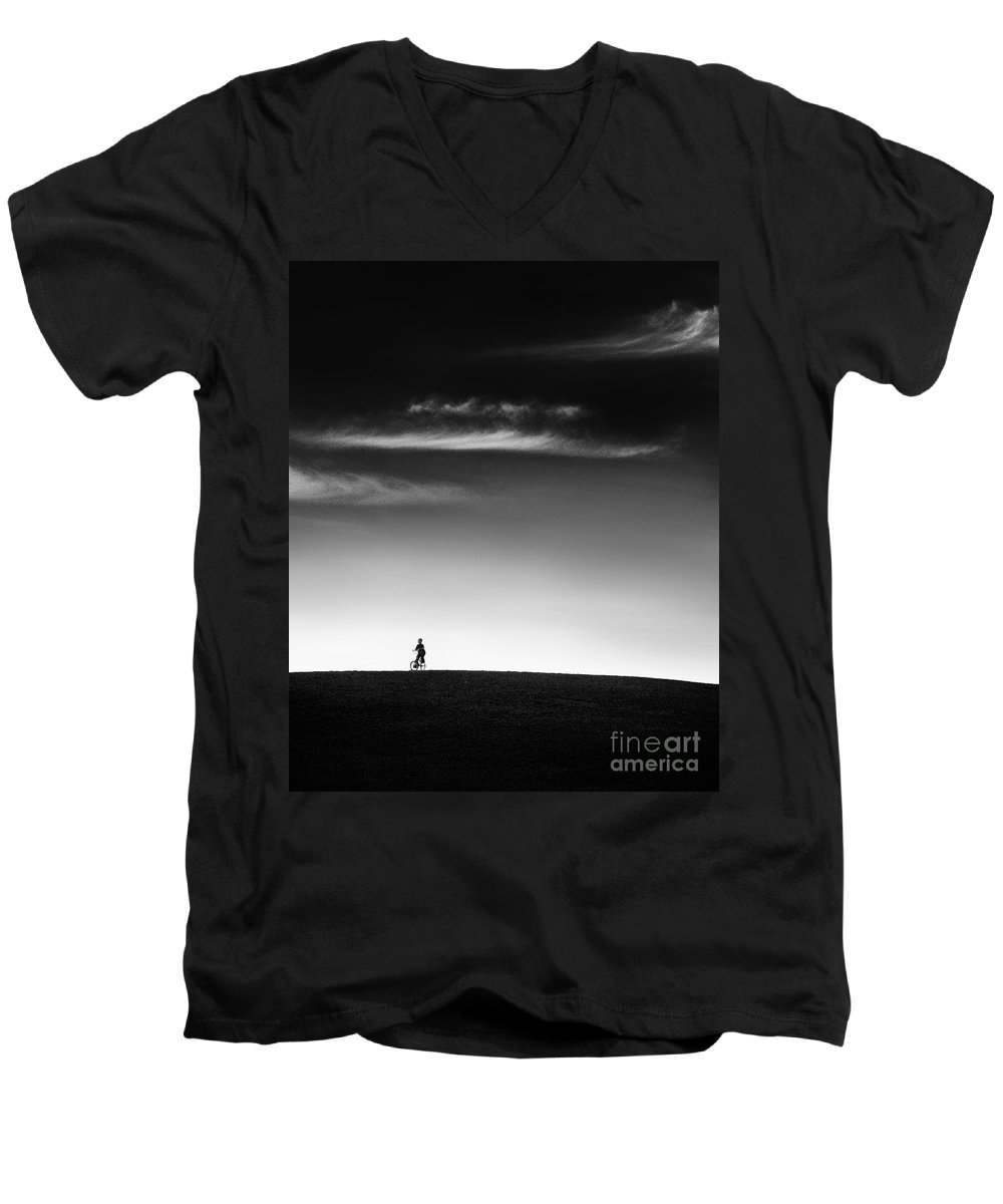 Boy Men's V-Neck T-Shirt featuring the photograph Racing The Wind by Dana DiPasquale